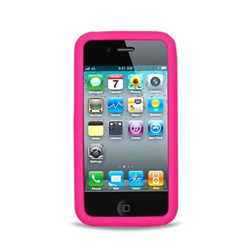 Insten Skin Rubber Cover Case For Apple iPhone 4, Hot Pink