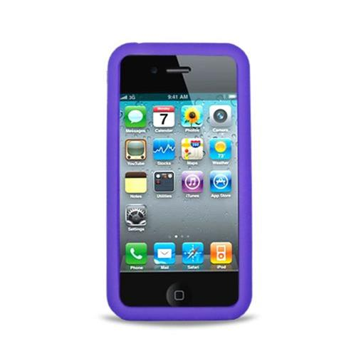 Insten Skin Rubber Cover Case For Apple iPhone 4, Purple