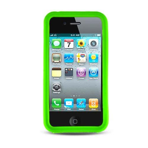 Insten Gel Rubber Cover Case For Apple iPhone 4, Green