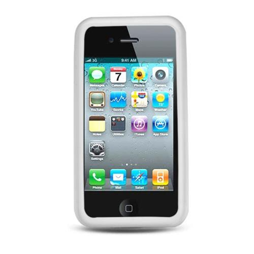 Insten Gel Rubber Case For Apple iPhone 4, White