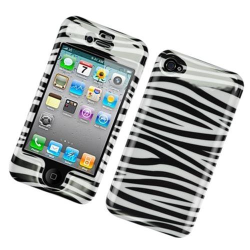 Insten Zebra Hard Case For Apple iPhone 4/4S, White/Black