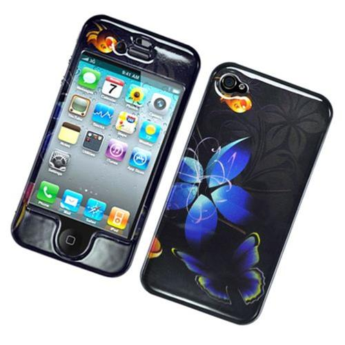Insten Butterfly Hard Cover Case For Apple iPhone 4/4S, Black/Blue