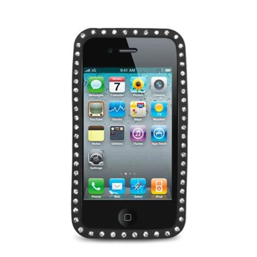 Insten Rubber Cover Case w/Diamond For Apple iPhone 4, Black