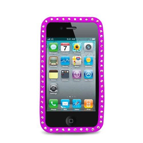 Insten Skin Rubber Cover Case w/Diamond For Apple iPhone 4, Hot Pink