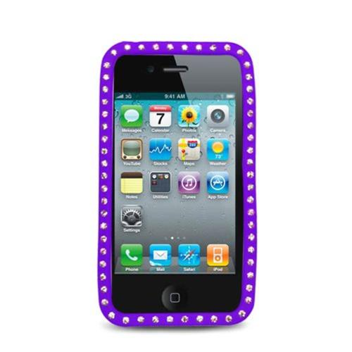 Insten Silicone Rubber Case w/Diamond For Apple iPhone 4, Purple