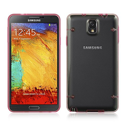 Insten Rubber Case For Samsung Galaxy Note 3, Clear/Hot Pink