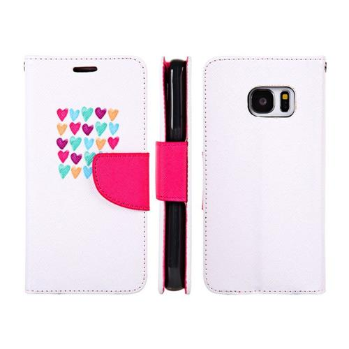 Insten Love Me Always Flip Leather Case w/stand/card holder For Samsung Galaxy S7, Pink/White