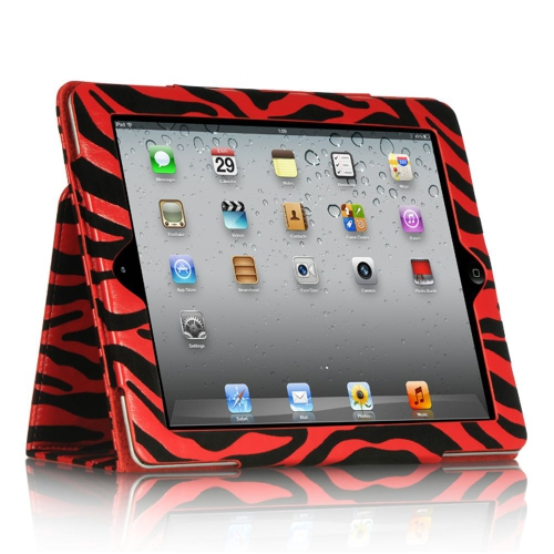 Insten Zebra Folio Leather Fabric Case w/stand For Apple iPad 2/3, Red/Black