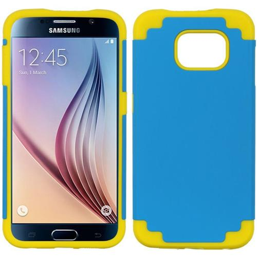 Insten Hard Dual Layer TPU Cover Case For Samsung Galaxy S6, Blue/Yellow