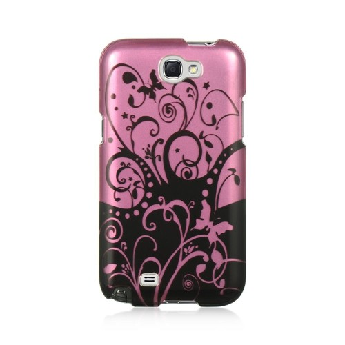 Insten Swirl Hard Rubberized Case For Samsung Galaxy Note II, Hot Pink/Black