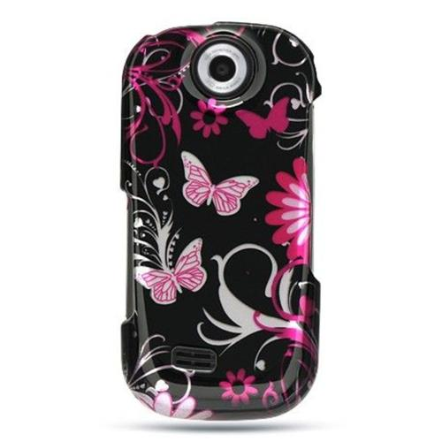 Insten Butterfly Hard Rubber Coated Case For Samsung Suede, Black/Pink