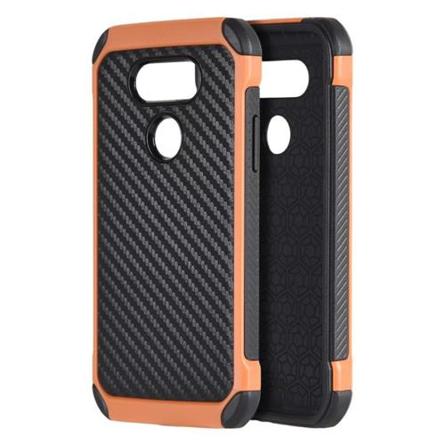 Insten Carbon Fiber Hard TPU Cover Case For LG G5, Black/Orange