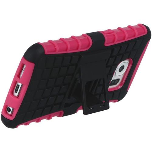 Insten Checker Hard Hybrid TPU Case w/stand For Samsung Galaxy S6, Hot Pink/Black