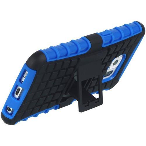Insten Checker Hard Dual Layer TPU Case w/stand For Samsung Galaxy S6, Blue/Black