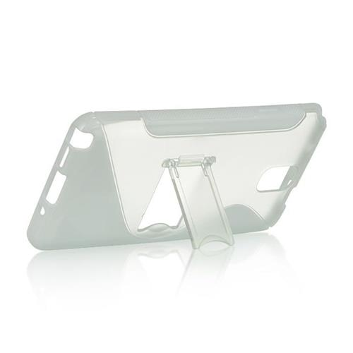 Insten S Shape Hard TPU Cover Case w/stand For Samsung Galaxy Note 3, White/Clear