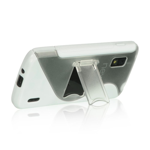 Insten S Shape Hard TPU Case w/stand For LG Google Nexus 4 E960, Clear/White