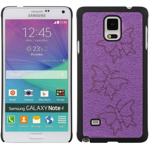 Insten Butterfly Hard Rubber Cover Case For Samsung Galaxy Note 4, Purple/Black