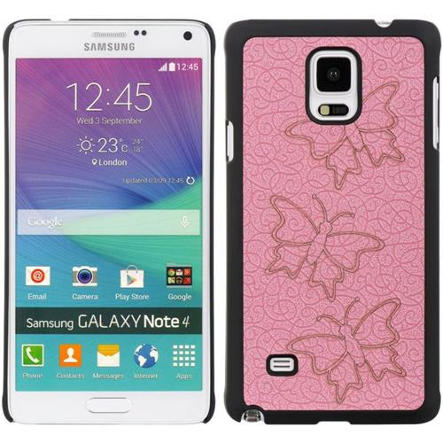 Insten Butterfly Hard Rubber Cover Case For Samsung Galaxy Note 4, Pink/Black