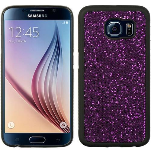 Insten Glittering Hard Glitter Cover Case For Samsung Galaxy S6, Purple/Black