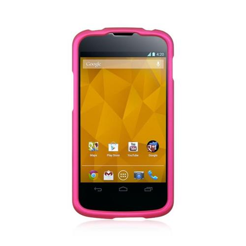Insten Hard Rubberized Case For LG Google Nexus 4 E960, Hot Pink