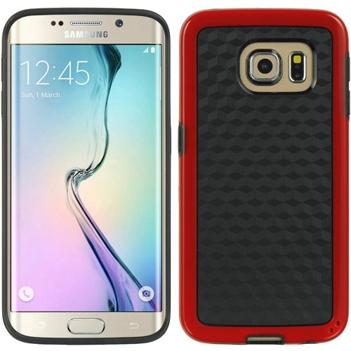 Insten Checker Hard TPU Cover Case For Samsung Galaxy S6 Edge, Black/Red