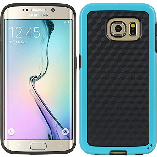 Insten Checker Hard TPU Case For Samsung Galaxy S6 Edge, Black/Blue