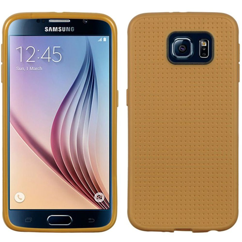 Insten Dots Rubber Case For Samsung Galaxy S6, Champagne Gold