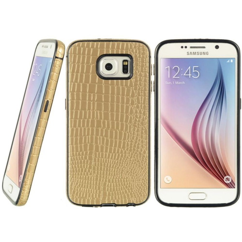 Insten Crocodile Leather Skin Cover Case For Samsung Galaxy S6, Gold