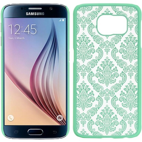 Insten Lace Hard Plastic Cover Case For Samsung Galaxy S6, Teal/White
