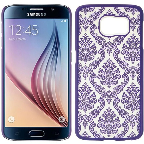 Insten Lace Hard Plastic Cover Case For Samsung Galaxy S6, Purple/White