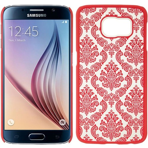 Insten Lace Hard Plastic Case For Samsung Galaxy S6, Hot Pink/White