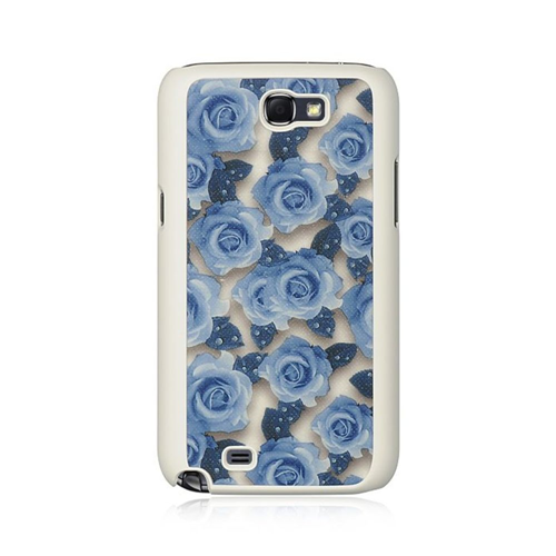 Insten Rose Hard Rubber Case For Samsung Galaxy Note II, Blue/White