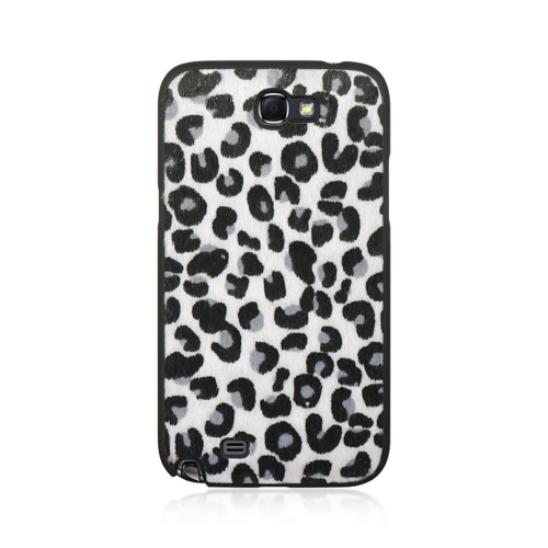 Insten Leopard Hard Rubber Coated Case For Samsung Galaxy Note II, Black/White