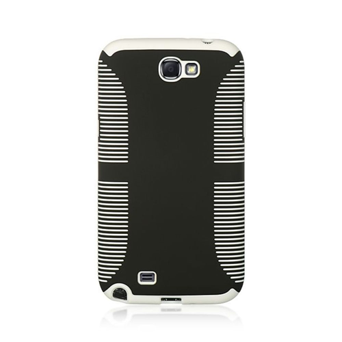 Insten Hard Rubberized Case For Samsung Galaxy Note II, Black/White