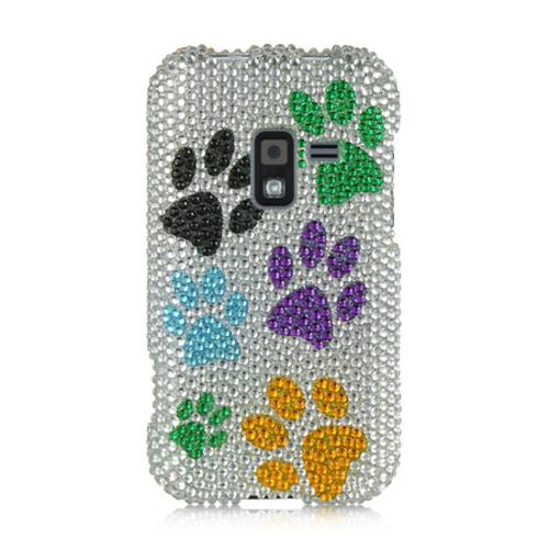 Insten Dog Paws Hard Diamond Cover Case For Samsung Galaxy Attain 4G, White/Orange