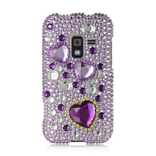 Insten Hearts Hard Bling Case For Samsung Galaxy Attain 4G, Purple/White