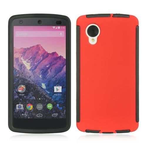 Insten Hard TPU Case w/Installed For LG Google Nexus 5 D820, Red