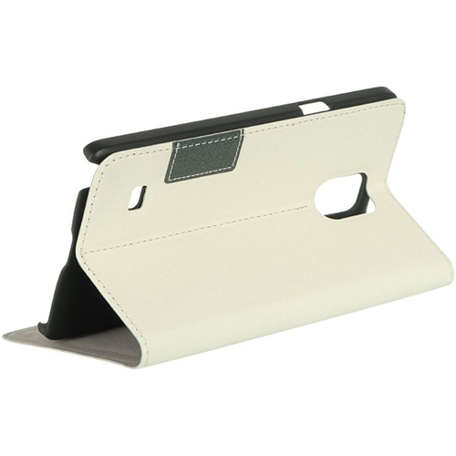Insten Book-Style Leather Fabric Cover Case w/stand/card holder For Samsung Galaxy Note 4, White