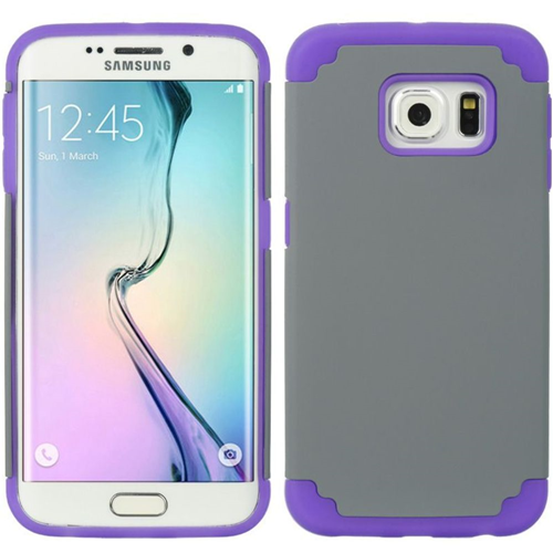 Insten Hard Dual Layer TPU Cover Case For Samsung Galaxy S6 Edge, Gray/Purple