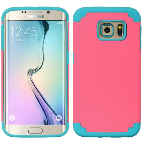 Insten Hard Hybrid TPU Case For Samsung Galaxy S6 Edge, Hot Pink/Blue