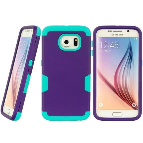 Insten Hard Dual Layer TPU Case For Samsung Galaxy S6, Purple/Teal