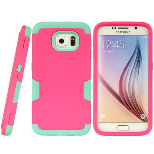 Insten Hard Hybrid TPU Case For Samsung Galaxy S6, Hot Pink/Teal