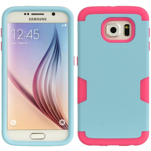 Insten Hard Hybrid TPU Cover Case For Samsung Galaxy S6, Blue/Hot Pink