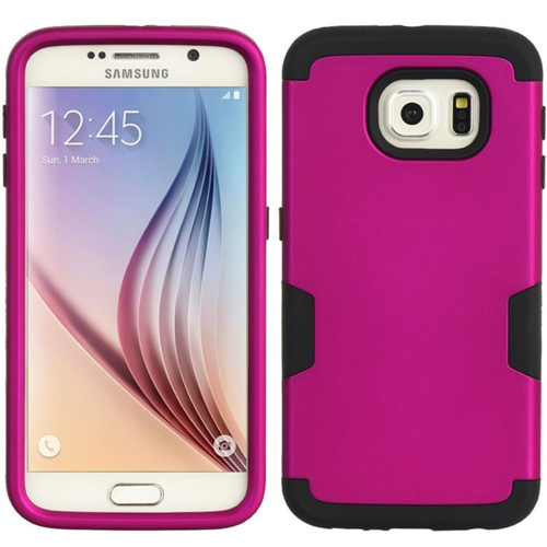 Insten Hard Dual Layer TPU Cover Case For Samsung Galaxy S6, Hot Pink/Black