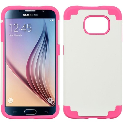 Insten Fitted Soft Shell Case for Samsung Galaxy S6 - White;Pink