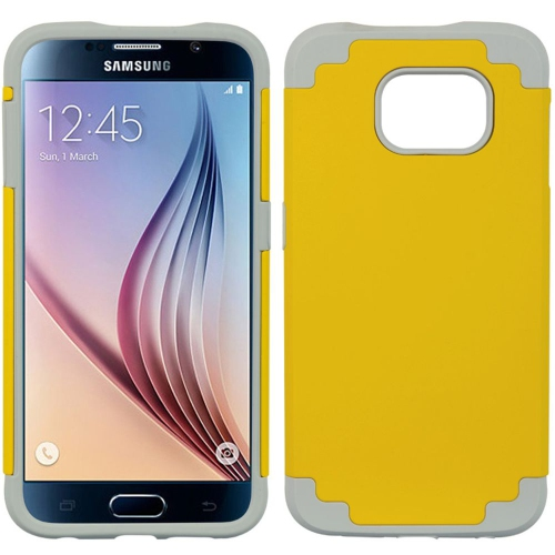 Insten Hard Dual Layer TPU Cover Case For Samsung Galaxy S6, Yellow/Gray