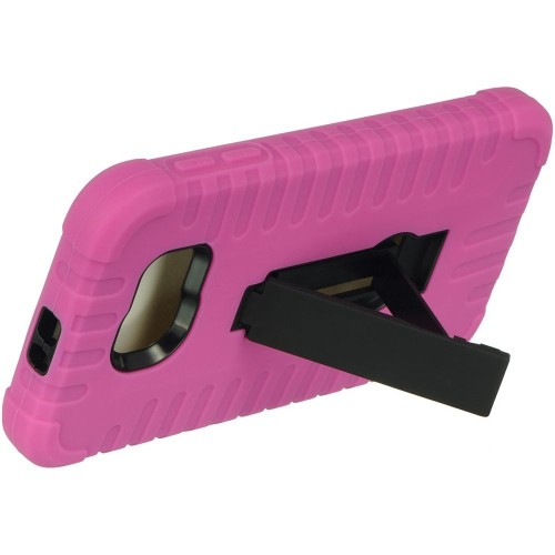 Insten Hard Hybrid Silicone Case w/stand For Samsung Galaxy S6, Hot Pink/Black
