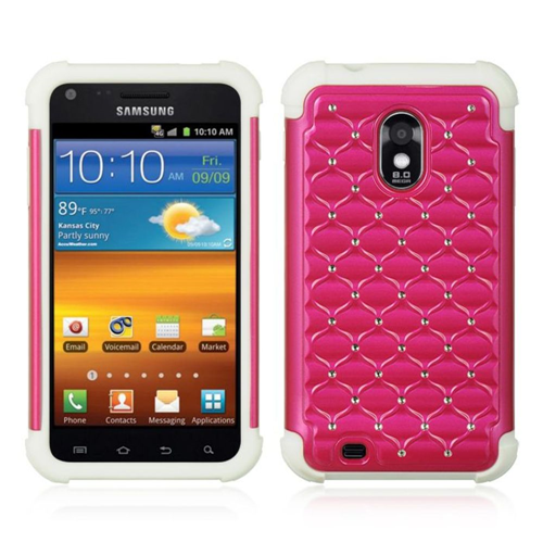 Insten HardRubber Silicone Case w/Diamond For Samsung Galaxy S2 Epic 4G Touch D710, Hot Pink/White
