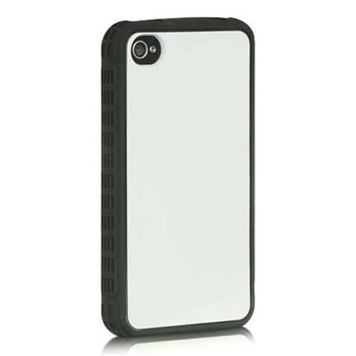 Insten Rubber Cover Case For Apple iPhone 4/4S, White/Black