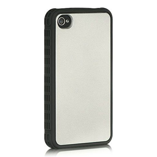 Insten TPU Cover Case For Apple iPhone 4/4S, Silver/Black